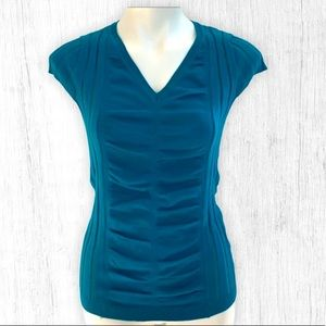 Blue Short Sleeve Rouched Sweater